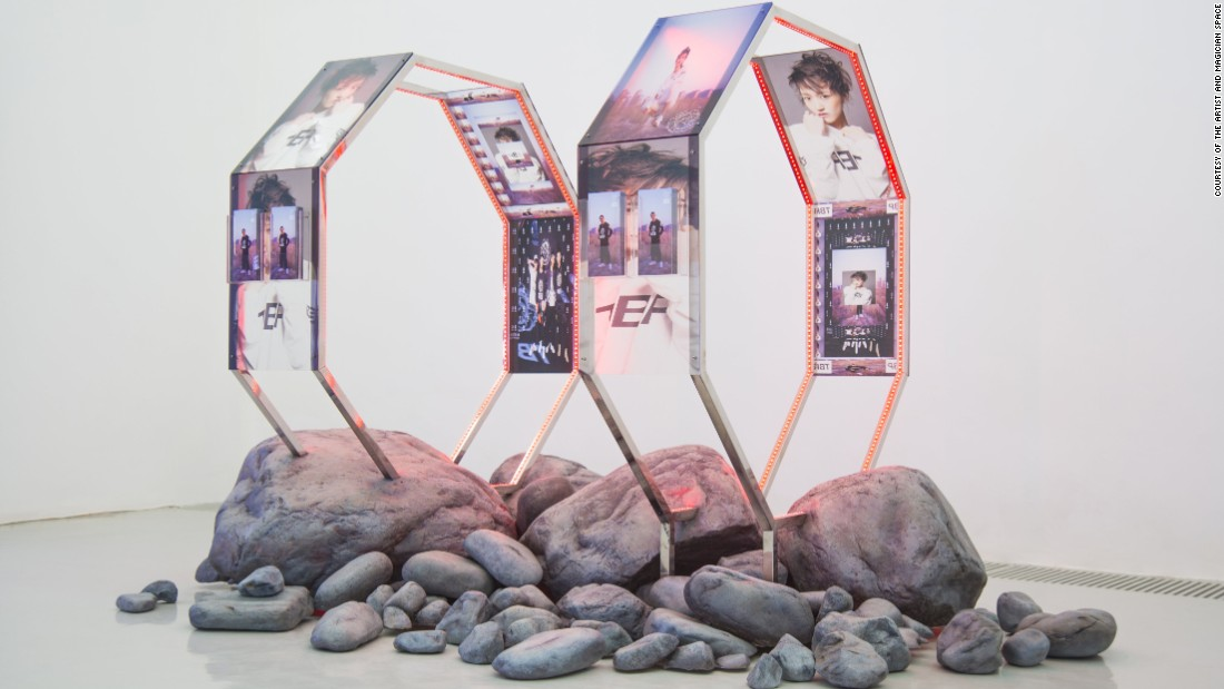 This striking installation by Timur Si-Qin compares K-Pop to geological process. The same way minerals are crushed and transformed into products, so too is contemporary Asian pop culture manufactured at an industrial rate -- an idea visualized by Si-Qin's mixture of sculpture and photography.