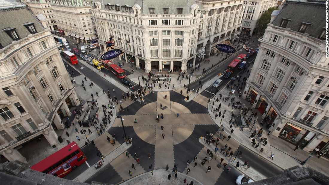 Oxford Street in London is the busiest street in London, and also among the most polluted. New Mayor of London Sadiq Khan plans to ban vehicles on the 1.2 mile highway and create a tree-lined shoppers' paradise.
