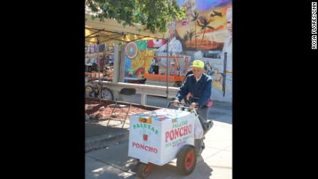 Fidencio Sanchez with his popsicle cart.