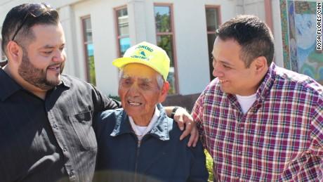 Sanchez with Joel Cervantes Macias, left, and Jose Loera, who set up his GoFundMe page.