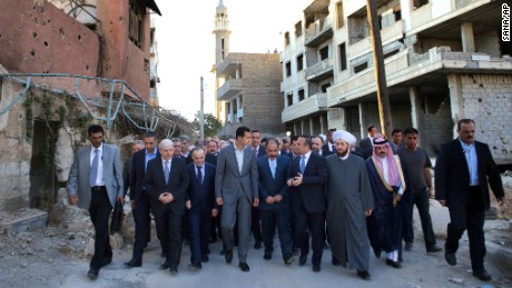President Bashar al-Assad walked through Daraya shortly before the ceasefire.