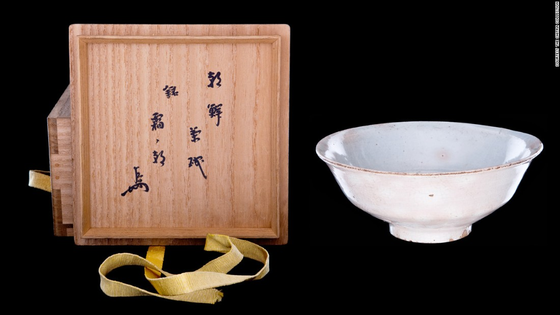 "This Japanese tea bowl, named ""Akebone"" (dawn) by its creator, was made from clay."