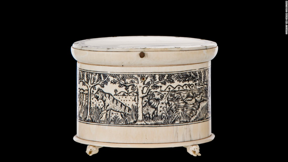 This ivory tea caddy -- complete with hand-drawn ink designs -- was especially tight to preserve expensive teas and spices shipped from India to Britain.
