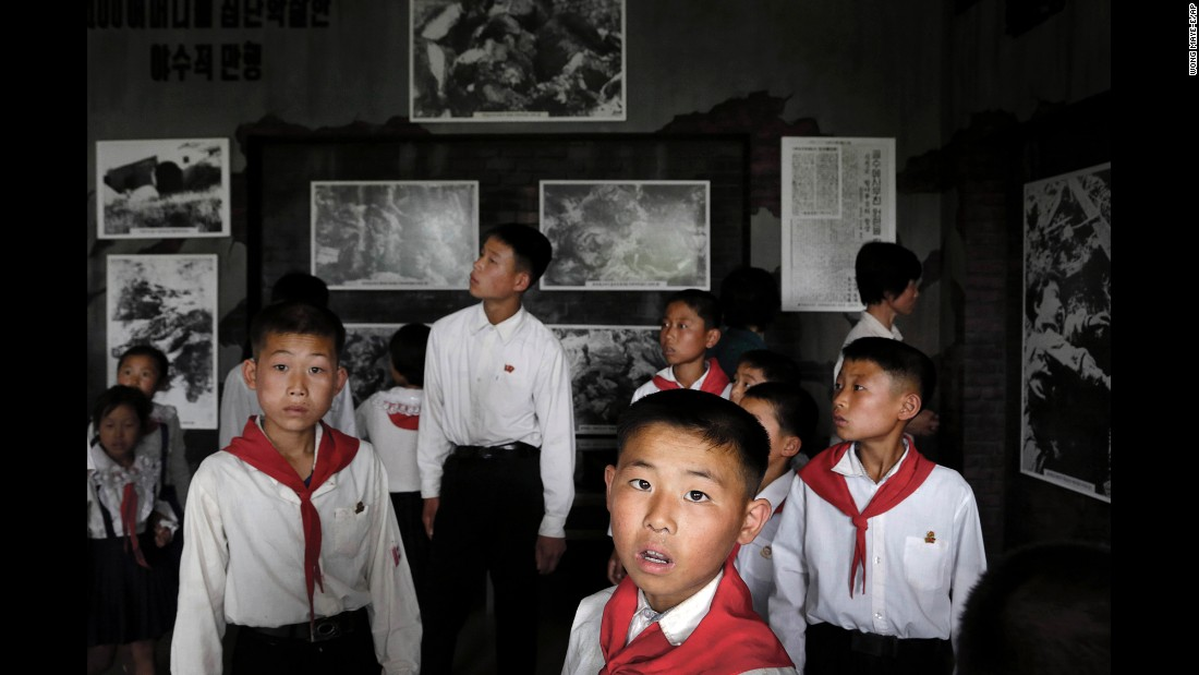 Schoolchildren visit the Sinchon Museum of American War Atrocities.