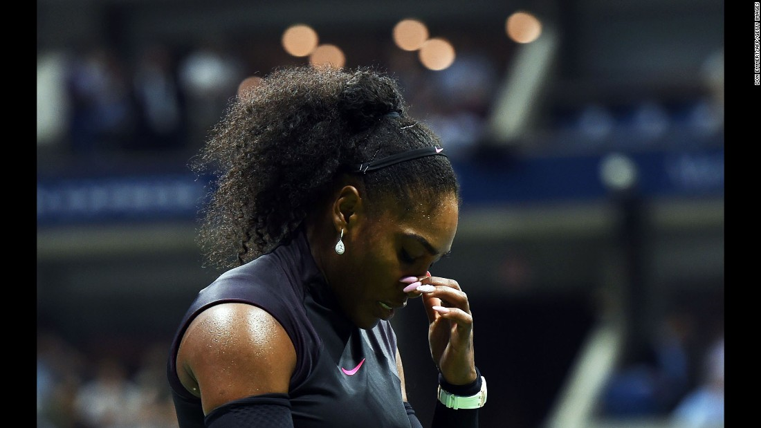 "Tennis star Serena Williams reacts after losing a point against Karolina Pliskova during a US Open semifinal match in New York on Thursday, September 8. It was a tough defeat for Williams, <a href=""http://edition.cnn.com/2016/09/08/tennis/us-open-tennis-serena-pliskova-kerber-wozniacki/"" target=""_blank"">who lost her No. 1-ranking</a> after Pliskova won in straight sets."