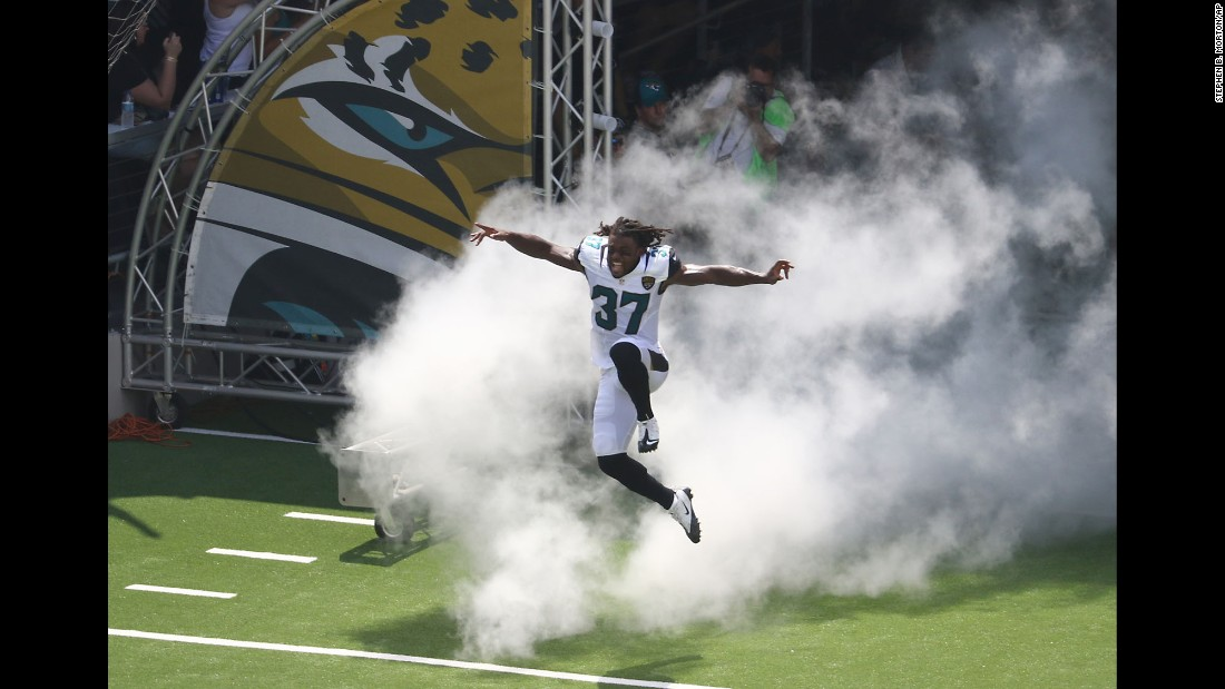 Jacksonville's Johnathan Cyprien takes to the field before a game against Green Bay in Jacksonville, Florida, on Sunday, September 11. Green Bay won 27-23.