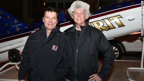 """Stuntman Eddie Braun, left, and Kelly Knievel in 2015 with Braun's """"Evel Spirit"""" rocket."""