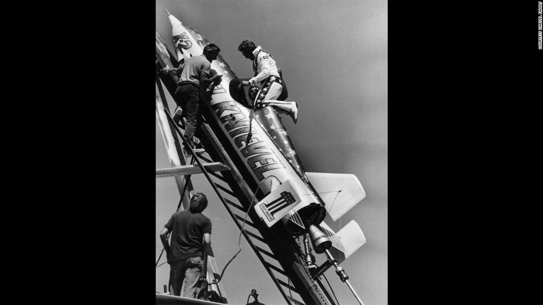 Knievel climbs into his Skycycle X-2 on the launch ramp. To get  permission from the state of Idaho to do the jump, the X-2 was registered as an airplane instead of a motorcycle. It's still owned by the Knievel estate and is sometimes displayed in museums.