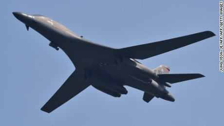 A US B-1B Lancer bomber flies over the Osan Air Base, South Korea, on Tuesday.