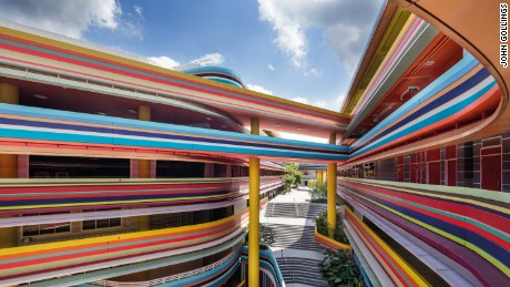 Colorful curves are an eye-catching feature of Nanyang Primary School, Singapore.