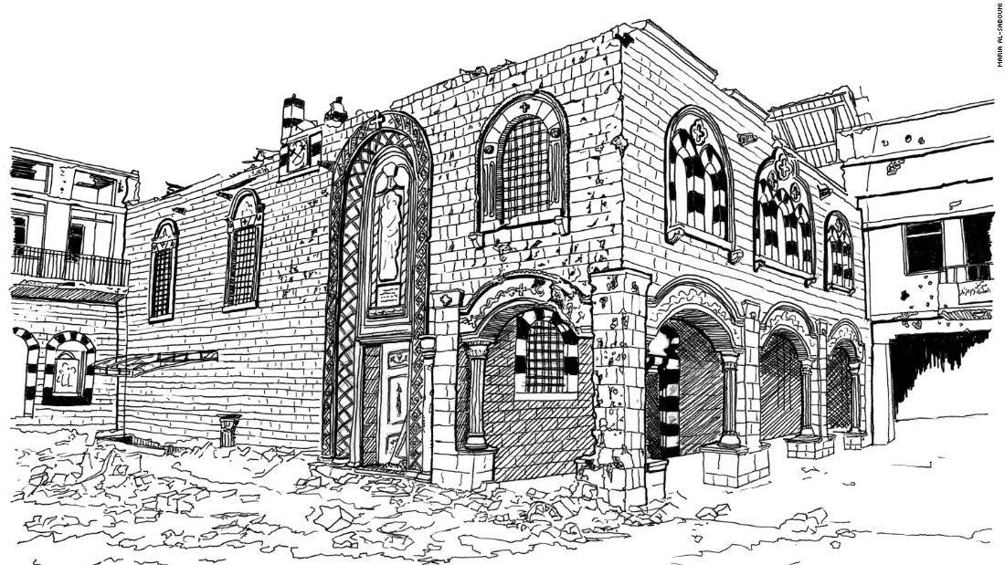 The Church of St Mary of the Holy Belt in Homs, its main entrance damaged