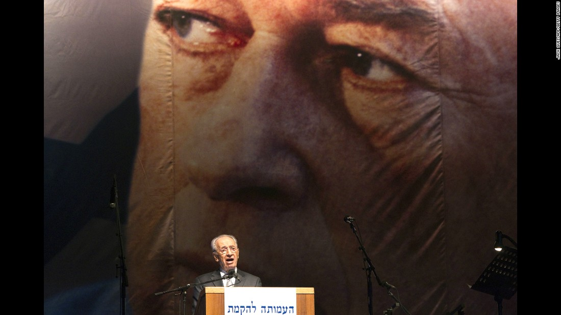 Israeli President Shimon Peres delivers a speech during a rally on October 30, 2010, to mark the 15th anniversary of the assassination of former Israeli Prime Minister Yitzhak Rabin at the Tel Aviv plaza where he was shot.