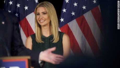 Ivanka Trump looks on as her her father, Republican presidential hopeful Donald J. Trump, speaks during a campaign event at the Aston Township Community Center on September 13, 2016 in Aston, Pennsylvania.