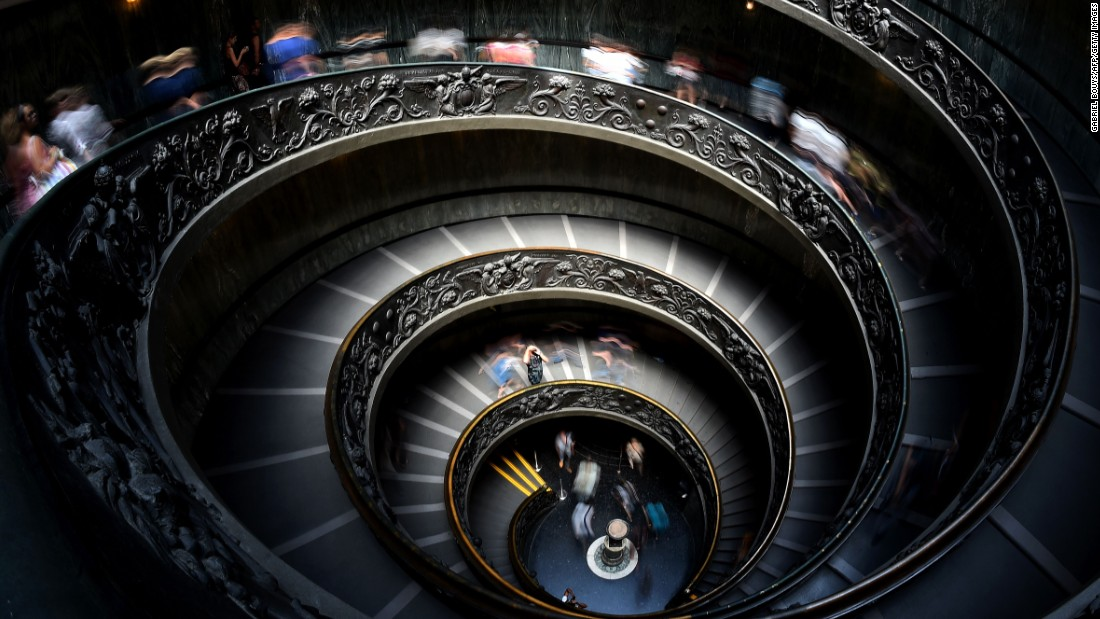 "Visitors to the Vatican Museums traverse this beautiful ""Bramante"" staircase. It was designed as a double-helix -- so people ascending do not meet people descending -- by Giuseppe Momo in 1932."
