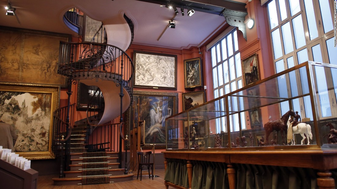 This whimsical staircase is found in the Musée National Gustave Moreau in Paris, formerly the home of the French Symbolist painter. The cast iron stairs connect the second and third floors of the apartment.