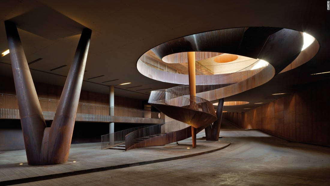 The staircase continues down to Antinori's driveway entrance.