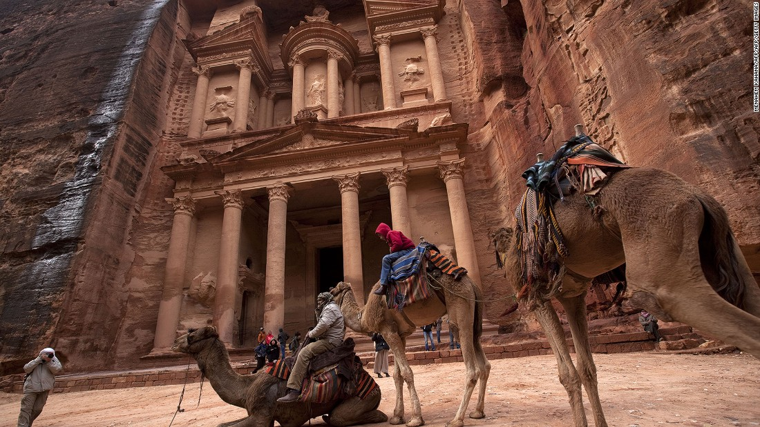 The Khazneh, or Treasury, is visible at the end of Al Siq. It was forgotten by the outside world for more than 1,000 years until a Swiss explorer was led there by a local Bedouin in 1812.