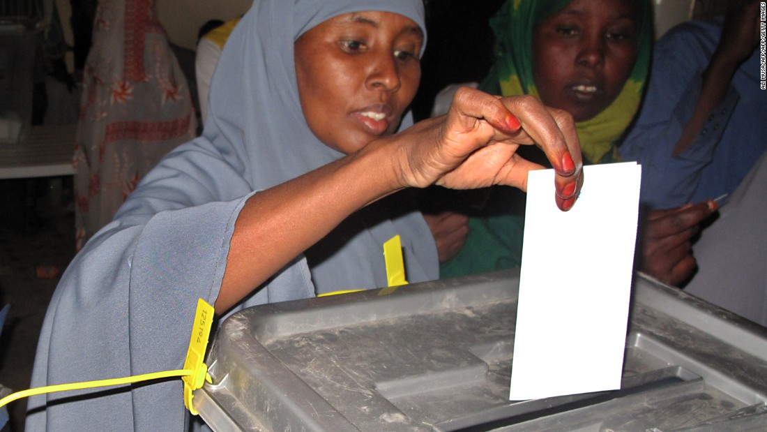 A woman casts her ballot during the 2010 elections that saw President Ahmed Mohamed Mohamoud Silanyoon elected. <br /><br />Somaliland closed its borders during voting amid fears that terrorists from neighboring Somalia could try to disrupt the polls, after warnings from the al-Shebab movement. <br />