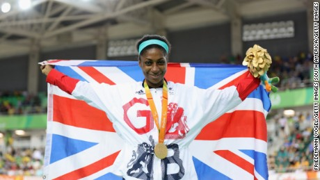 Kadeena Cox celebrates after winning C4-5 500m time trial gold in the velodrome.
