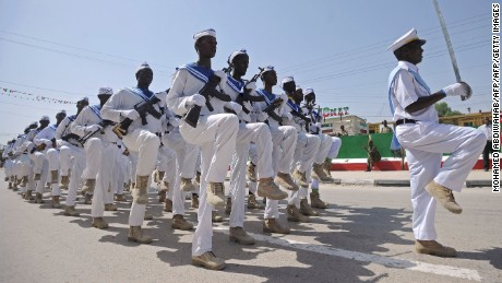 Somaliland military personnel march on independence day.