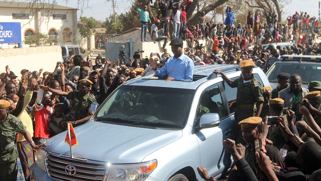 "The presidential candidate Edgar Lungu of Zambia's ruling party Patriotic Front waves to the crowd as he arrives to cast his ballot on the day of the election. <a href=""http://af.reuters.com/article/topNews/idAFKCN11K0L5"" target=""_blank"">He was sworn in</a> earlier this month for another five years."