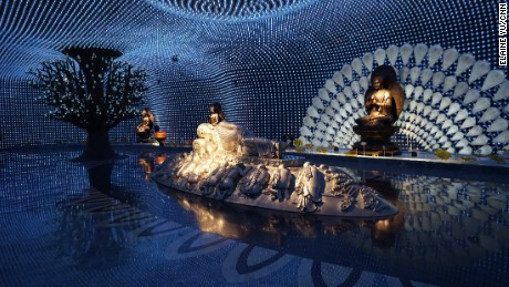 The exhibition deploys highly visual renderings of Buddhist themes.