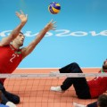 Morteza Mehrzadselakjani sitting volleyball shot