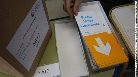BUENOS AIRES, ARGENTINA - JULY 05:  Detail of the new electronic balllot during Buenos Aires City Mayor elections at Ricardo Monner Sans School on July 5, 2015 in Buenos Aires, Argentina. Locals are casting their votes to elect the successor of Mayor Mauricio Macri using for the first time the new electronic voting system. (Photo by Ricardo Pristupluk/LatinContent/Getty Images)