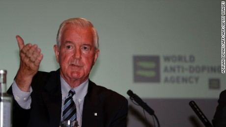 "Sir Craig Reedie, President of World Anti-Doping Agency (WADA) speaks at a media symposium at Lord's cricket ground in London on June 20, 2016. Craig Reedie, the head of the World Anti-Doping Agency, indicated today he would be prepared to back ""precedent-setting action"" against Russia following suggestions the country's entire team could be banned from August's Olympic Games in Rio. / AFP / ADRIAN DENNIS        (Photo credit should read ADRIAN DENNIS/AFP/Getty Images)"