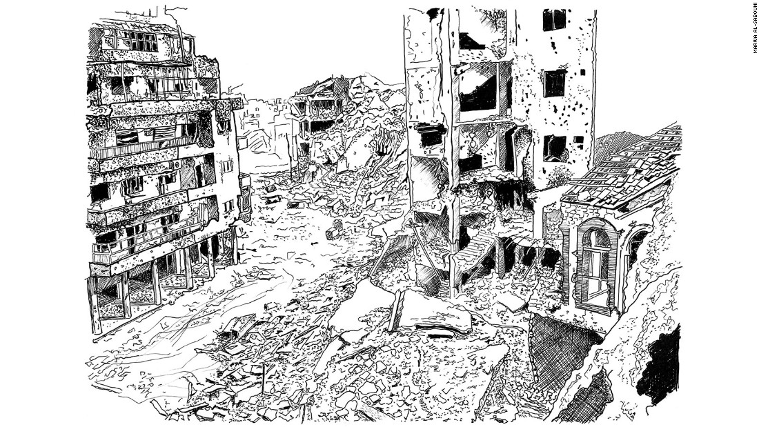 A neighborhood in Homs reduced to rubble