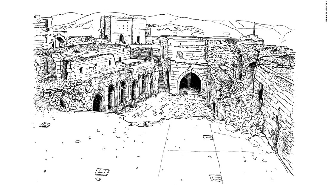 Overview of the inner configuration of Krak des Chevaliers in Talkalakh, Syria showing recent damage