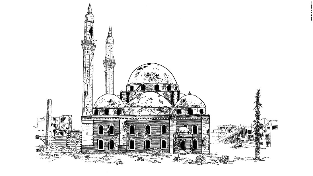 Khalid Ibn-Walid Mosque in Homs, its main facade and minaret damaged