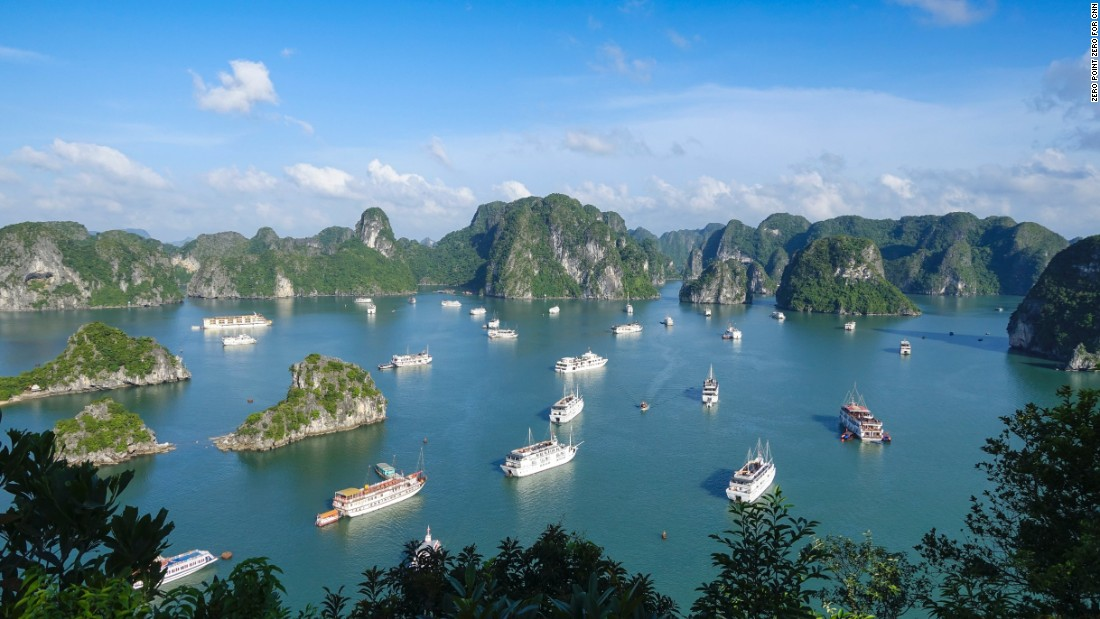 """Vietnam. It grabs you and doesn't let you go. Once you love it, you love it forever,"" CNN's Anthony Bourdain said. During this visit, he explored Halong Bay, pictured, and <a href=""http://www.cnn.com/2016/09/22/travel/bourdain-parts-unknown-obama-hanoi/"">dined with President Obama</a> in Hanoi."