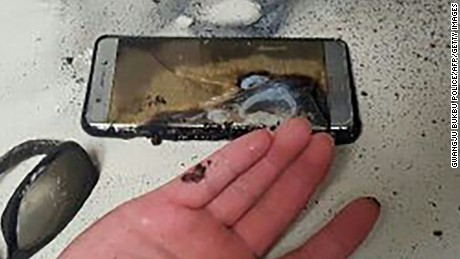 "This handout photo taken and released by Gwangju Bukbu Police Station on September 13, 2016 shows a blown-up Samsung Galaxy Note7 smartphone in Gwangju, 270 kms south of Seoul. According to the police, the owner claims he received burn injuries on a finger while attempting to extinguish his burning phone after he was jolted from his bed by the sound of an explosion early September 13. Samsung shares plunged September 12 after the South Korean electronics giant urged global consumers to stop using its Galaxy Note 7 smartphone due to a spate of exploding batteries that raised alarm around the world.  / AFP PHOTO / Gwangju Bukbu Police Station / STR / ---- EDITORS NOTE ---- RESTRICTED TO EDITORIAL USE   MANDATORY CREDIT ""AFP PHOTO / GWANGJU BUKBU POLICE STATION""   NO MARKETING NO ADVERTISING CAMPAIGNS  -  DISTRIBUTED AS A SERVICE TO CLIENTSSTR/AFP/Getty Images"