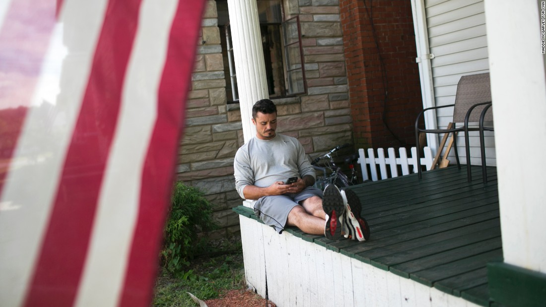 John Witlatch sits on the porch of a Lifehouse home. He is in the second month of recovery.