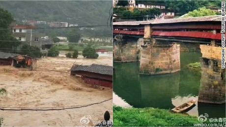 The typhoon destroyed an 800-year-old bridge.