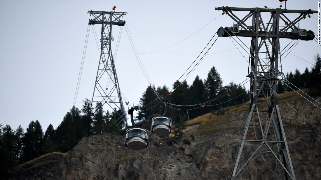 "Cable cars in Courmayeur, Italy, are restarted on Friday, September 9, after <a href=""http://www.cnn.com/2016/09/08/europe/french-alps-rescue/"" target=""_blank"">dozens of people were trapped</a> and later rescued from 12,000 feet when the cable cars became stuck overnight."