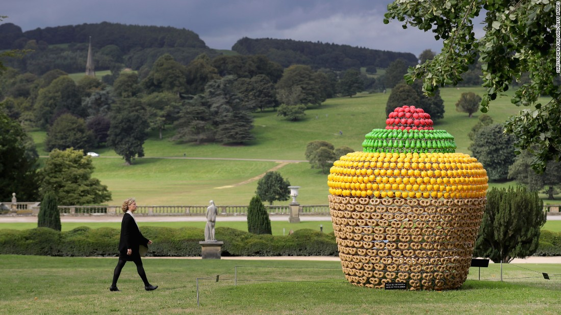 """Fruit Cake"" by artist Joana Vasconcelos is displayed at the Sotheby's ""Beyond Limits"" monumental outdoor sculpture exhibition in Derbyshire, England, on Friday, September 9."