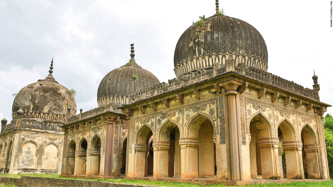 The monuments of the Qutb Shahi Heritage Park are the resting places of the fearsome Qutb Shahi family, which ruled the Hyderabad region of southern India for 169 years in the 16th and 17th centuries. The tombs in this image were for governors and commanders.