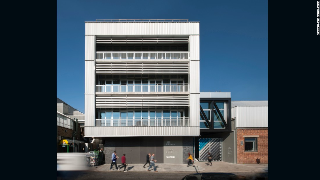 The industrial-style building is part of the Royal College of Art's expanding South London campus, which unites the college's fine art and applied arts programs.