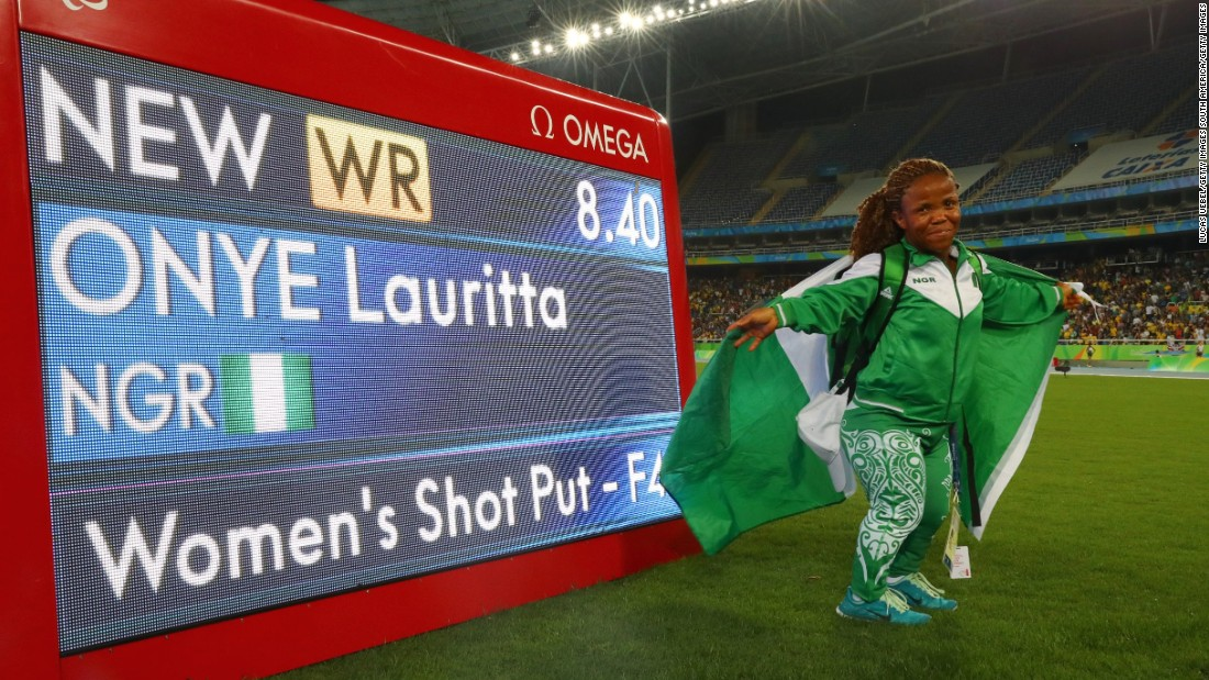 Not only is she a gold medal winning shot putter, Lauritta Onye is also an actress. She set a new world record in the women's shot put F40 category.
