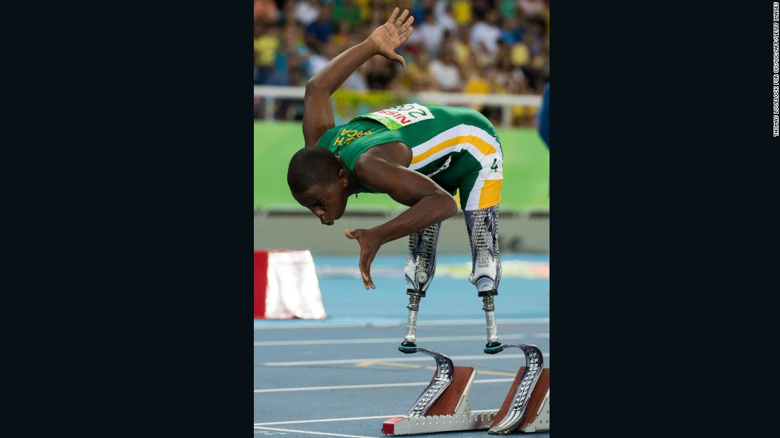 South African blade runner Ntando Mahlangu aged 14, suffered from hemimelia and only started walking with his prosthetic blades four years ago. Mahlangu won silver at the Men's 200m - T42 race