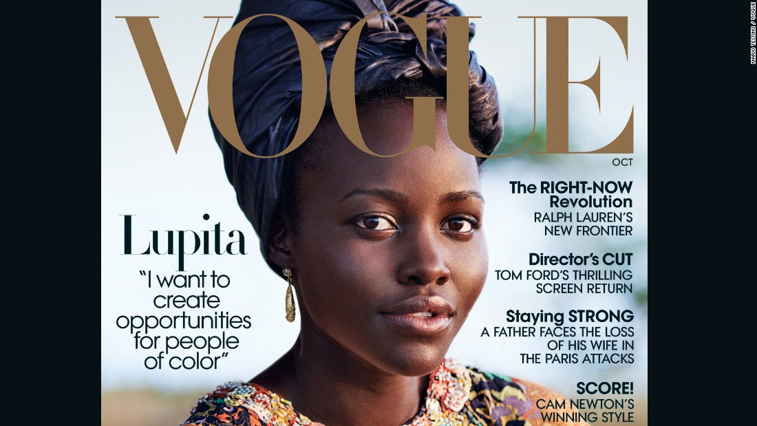 "Lupita Nyong'o graces the cover of Vogue's October issue in a Chanel dress and Cathy Waterman earrings. The Oscar wining actress celebrated new movie ""Queen of Katwe"" by inviting Vogue to her hometown in Kenya."