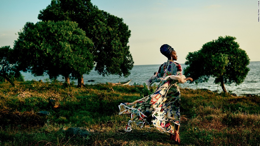 She took the fashion magazine's cameras around Western Kenya. Here she poses in a Chloe dress, Cara Croninger earrings, and Christian Louboutin sandals. The images were captured at Dunga beach near Lake Victoria.