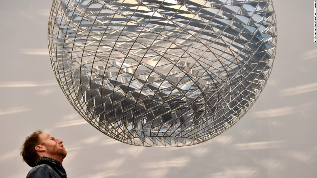 "Eliasson showcased this ""Schools of Movement Sphere"" at the Frieze Art Fair in London, 2014."