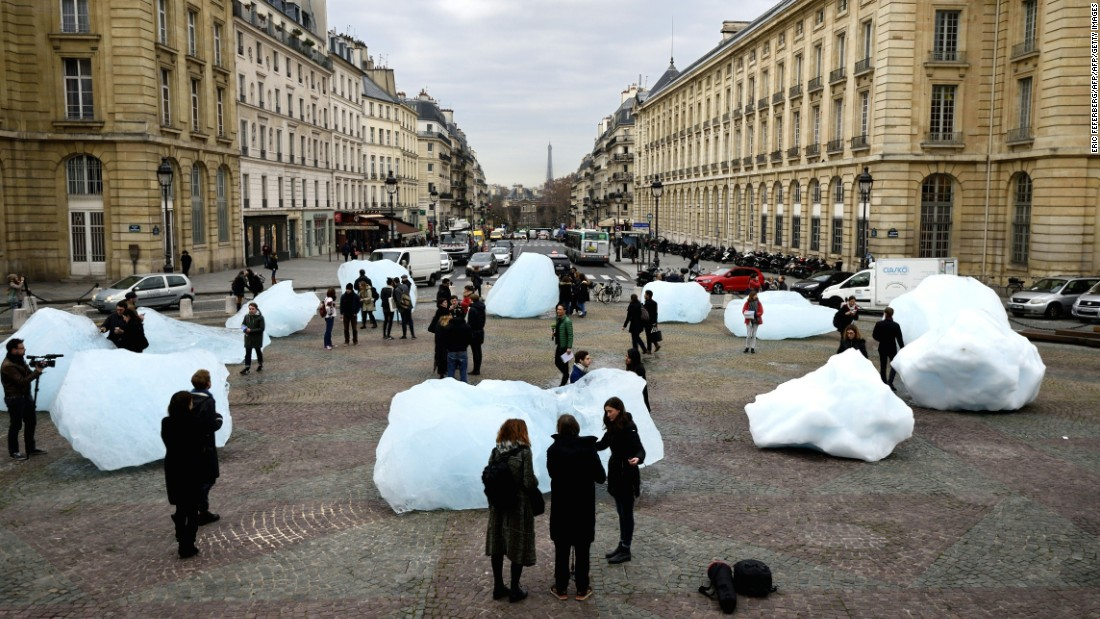 "Eliasson's installation ""Ice Watch"", made with parts of Greenland's ice cap, was put on display in front of the Pantheon in Paris on December 3, 2015."
