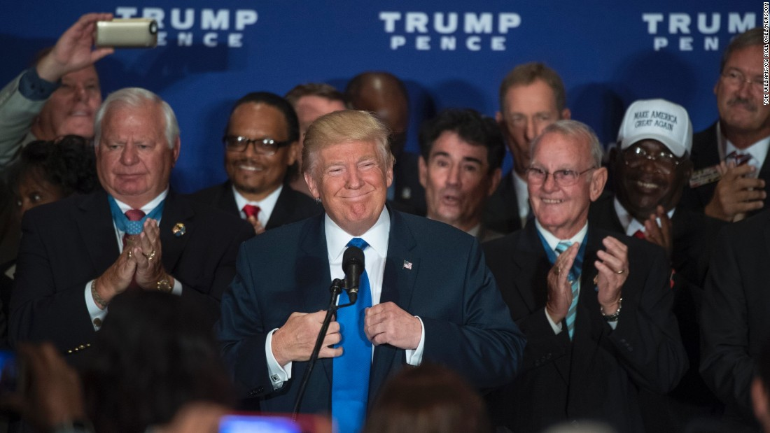 """Republican presidential nominee Donald Trump speaks at a campaign event in Washington on Friday, September 16. """"President Barack Obama was born in the United States. Period,"""" <a href=""""http://www.cnn.com/2016/09/15/politics/donald-trump-obama-birther-united-states/index.html"""" target=""""_blank"""">admitted Trump</a>, who continues to falsely blame Democratic nominee Hillary Clinton for starting the <a href=""""http://www.cnn.com/2015/09/21/politics/donald-trump-hillary-clinton-birther-movement/"""" target=""""_blank"""">birther theory</a>."""