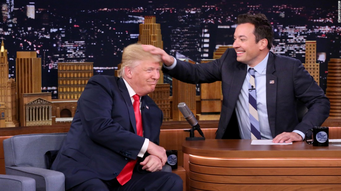 "Late-night talk show host Jimmy Fallon <a href=""http://www.cnn.com/videos/politics/2016/09/16/donald-trump-jimmy-fallon-mess-up-hair-ekr-orig-vstop.cnn"" target=""_blank"">musses Donald Trump's hair</a> during an episode of ""The Tonight Show"" in New York on Thursday, September 15."