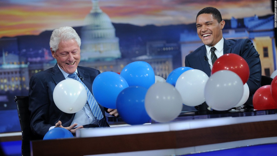 "Trevor Noah <a href=""http://www.cnn.com/2016/09/16/politics/bill-clinton-talks-balloons-clinton-foundation-daily-show/"" target=""_blank"">surprises former President Bill Clinton with balloons</a> during an episode of ""The Daily Show"" in New York on Thursday, September 15. <a href=""http://www.cnn.com/2016/07/29/politics/balloons-bill-clinton-democratic-national-convention-twitter/"" target=""_blank"">The surprise was in reference</a> to the balloon drop that the former president seemed to enjoy at the end of this year's Democratic National Convention."