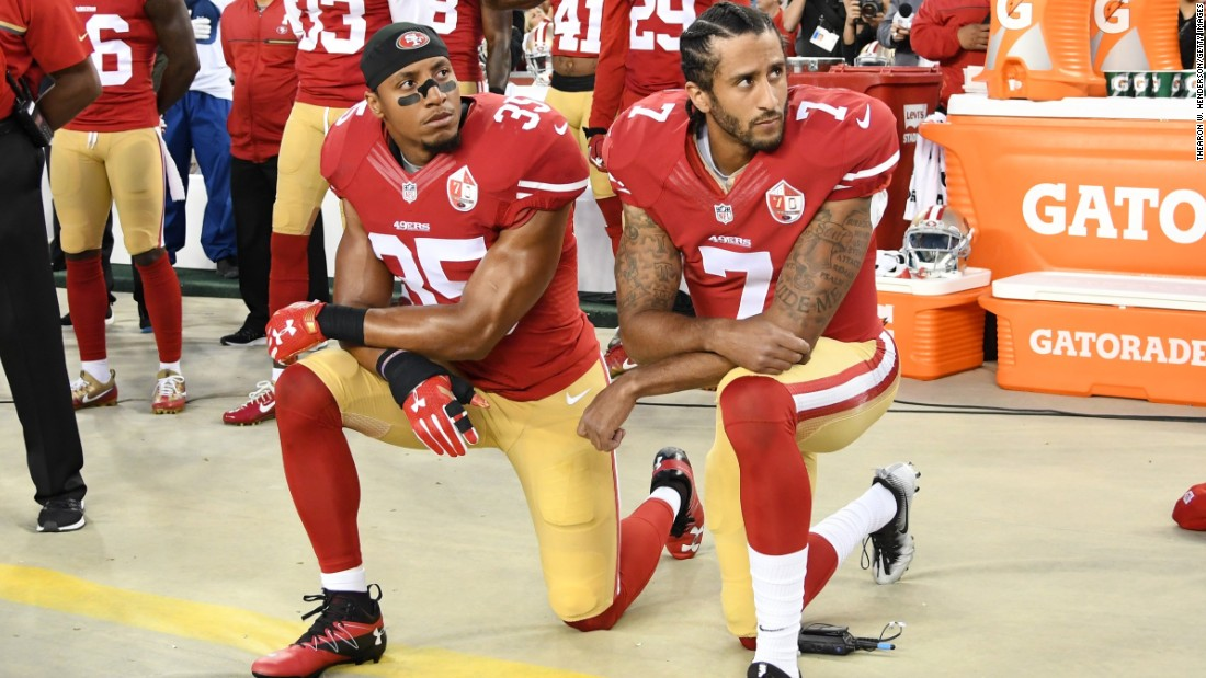 In 2016 Colin Kaepernick ( #7) of the San Francisco 49ers created a storm by refusing to stand for the national anthem before NFL games. He is pictured with teammate Eric Reid (#35) prior to a home game against the Los Angeles Rams on September 12, 2016.